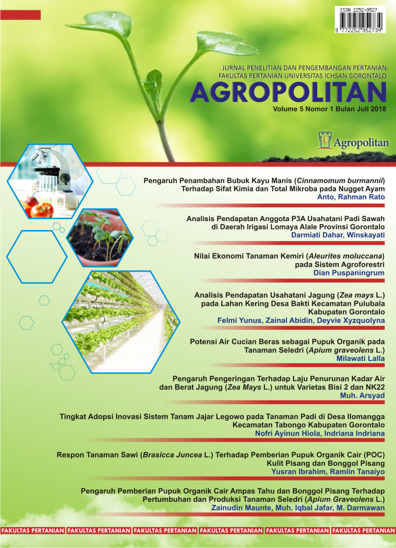 Agropolitan Vol 5 No 1: Juli 2018